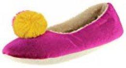 Dunlop Mujer Zapatillas De Pom Pom Cálido Confort Morado/Mostaza EU 36-37