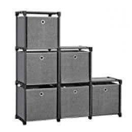 SONGMICS LSN66BK-Estantería con 6 Compartimentos (Marco de Metal, Martillo de Goma, 105 x 105 x 30 cm), Color Negro