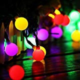 60 LED 10M Cadena Solar de Luces, IP65 Impermeable 8 Modos Luces Decorativas, Guirnaldas Luminosas para Exterior,Interior, Jardines, Casas, Boda, Fiesta de Navidad (multicolor)