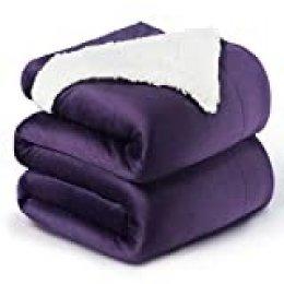 Bedsure Manta Reversible de Franela/Sherpa 220x240cm - Manta para Cama 135/150 de 100% Microfibra Extra Suave - Manta de Felpa Violeta