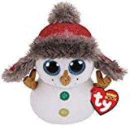 Ty Beanie Boos Buttons-Muñeco de Viene 23cm-Navidad, Color Blanco (36410TY)
