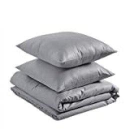 AmazonBasics - Juego de funda nórdica 100% algodón - 200 x 200 cm / 65 x 65 cm, Gris ceniza
