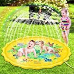 Sooair Splash Pad, 170CM Tapete de Juegos de Agua, Almohadilla Aspersor de Juego Agua, Juguete para Niños para Actividades al Aire Libre y Aire Libre Fiesta Playa Jardín (Amarillo)