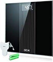 Deik Báscula Baño, Báscula Electrónica de Alta Precisión con Plataforma Transparente y Pantalla LCD Retroiluminada, 180 kg / 400lb, Incluida Cinta Métrica y 2 Baterías AAA, Negro