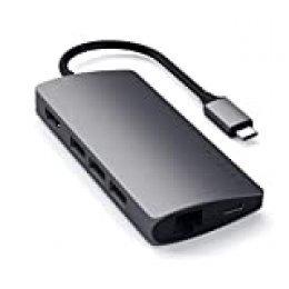 SATECHI Adaptador Multi-Puertos V2 de Aluminio - HDMI 4K (30Hz), Ethernet Gigabit, Carga USB-C, Lectores de Tarjetas SD/Micro, Puertos USB 3.0 para 2020/2019/2018 MacBook Pro (Gris Espacial)