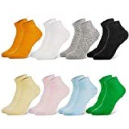 Newdora Calcetines Mujer, 8 Pares Calcetines Tobilleros Mujer Cortos e Invisibles, Antideslizante Algodón Calcetines transpirables e deportivos