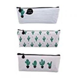 Nuolux - Estuche multiuso con diseño de cactus (3 unidades). Ideal como bolsa de maquillaje, portalápices, portabolígrafos, etc.