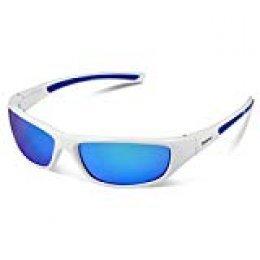 Duduma Gafas de Sol Deportivas Polarizadas Para Hombre Perfectas Para Esquiar Golf Correr Ciclismo TR8116 Súper Liviana Para Hombre y Para Mujer (marco blanco con lente azul)