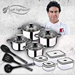 San Ignacio Premium Set de Bateria 8 Piezas + 4 recipientes herméticos + 3 Utensilios de Cocina, Gris