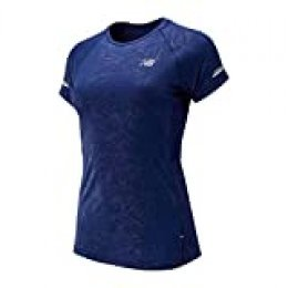 New Balance Printed NB Ice 2.0 SS Running tee Camiseta, Mujer, Techtonic Azul, Large
