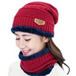 Conjunto de Sombrero y Bufanda, Hombre y Mujer Sombrero Caliente de Punto y Bufanda de Forro de Lana, 2 Piezas (50-60cm, Rojo urgente)
