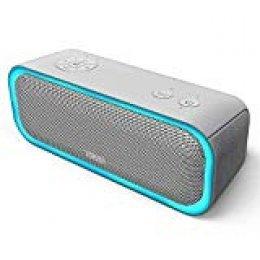 DOSS SoundBox Pro Altavoz Bluetooth Portátiles con 360° Sonido, Mejorado Bass, Pareado Estéreo, Múltiple LED, IPX5 Impermeable, 12 Horas de Emisión Continua Manos Libre-Gris