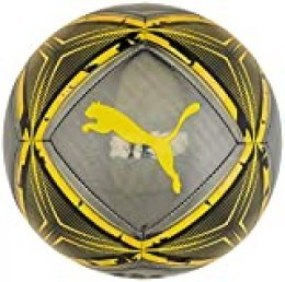 PUMA SPIN Ball Balón de Fútbol, Unisex-Adult, Black-Ultra Yellow-Orange Alert, 5