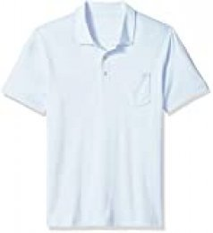 Amazon Essentials - Polo de manga corta ajustado y con bolsillo para hombre, Azul claro, US XS (EU XS)
