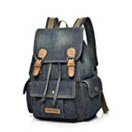 Mochila de lona, mochila escolar de tela vaquera para adolescentes, niñas, niños, estilo vintage, con cordón