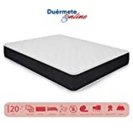 Duérmete Online - Colchón Viscoelástico Pocket Visco Reversible (Cara Invierno-Verano) Firmeza-Dureza Alta, Transpirable, Blanco/Negro, 90x190