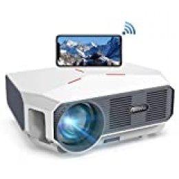 "【Actualizado 2020】 Proyector WiFi, BOSNAS Nativo 720P Mini Proyector Portátil 5800 Lumen, Soporta Full HD 1080P, Cine en Casa 200 "" Duplicar Pantalla para TV Stick PS4 Laptop Smartphone"