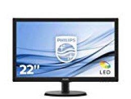 """Philips Monitor 223V5LSB2/10 - Pantalla para PC de 21.5"""" FHD (resolución 1920 x 1080 Pixels, tecnología WLED, Contraste 600:1, 5 ms, FlieckerFree, VESA; VGA, sin Altavoces)"""