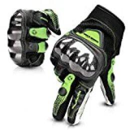 Guantes Moto Tranpirable Entretiempo Guantes con Protección Guantes Moto Verano Anti-Deslizante Pantalla Táctil Proteccion Gloves Racing Moto (Negro, L)