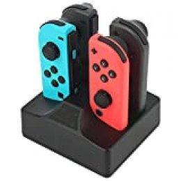 Cargador Mando para Switch 4 en 1 Estación de Carga para Switch Joy-Con Indicador LED y 1 m Cable USB Tipo C