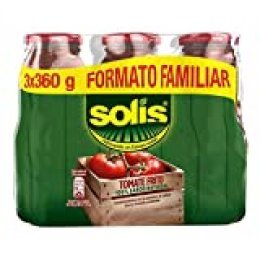 SOLIS Tomate Frito Frasco Cristal - Tomate sin gluten - Pack 3x360 g - Total: 1080g