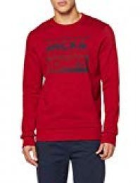 JACK & JONES JCOSEAD Sweat Crew Neck FST Sudadera, Rojo (Rio Red Rio Red), L para Hombre