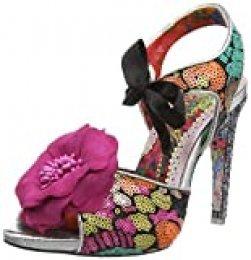 Irregular Choice Flower Bee, Zapatos de tacón con Punta Abierta para Mujer, Negro (Black Grey), 37 EU