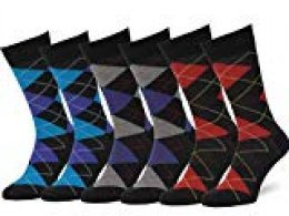 Easton Marlowe 6 PR Calcetines Estampados Hombre Argyle/Rombos - 6pk #2-6, Negro & Colores Brillantes - 43-46 EU shoe size