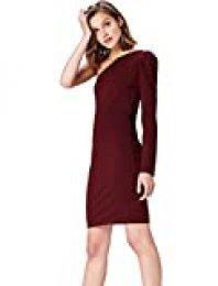 Marca Amazon - find. Vestido con Hombro Descubierto para Mujer, Rojo (Tawny Port), 36, Label: XS