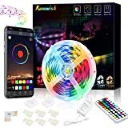 Tiras LED 5M, Romwish 5050 SMD RGB 150 LEDs con Control Remoto RF de 44 Botones & Control Bluetooth,para la Habitación, Dormitorio, fiestas, bares