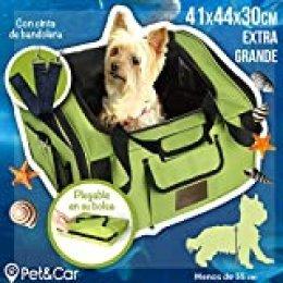 Transportín plegable de tela para gatos y perros pequeños, ideal para coche. Bolsa de viaje semirrígida para mascotas. Bolso de transporte impermeable con rejilla. Funda de almacenaje incluida
