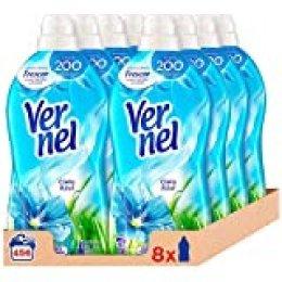 Vernel Detergente Suavizante Concentrado Ropa Cielo Azul, 57 Dosis - Total 456 Lavados (10.4 L), Pack de 8