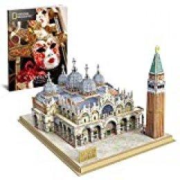 CubicFun Puzzle 3D Plaza de San Marcos, con National Geographic Folleto de Fotografía, 107 Piezas