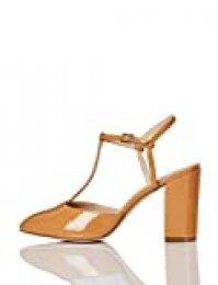 Marca Amazon - FIND Block Heel T-Bar Zapatos de Tacón, Beige (Caramel), 36 EU