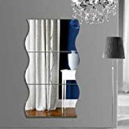 GUIGSI DIY decoración del hogar Sala de Estar Dormitorio Onda Cuadrada Pared Espejo Etiqueta Pegatinas de Pared