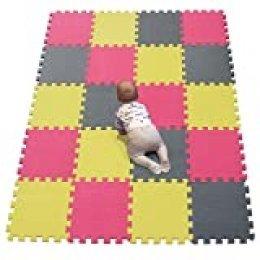 YIMINYUER Stomping Ground Toys - 20 Alfombras Puzzle EVA Coloridas Alfombras de Foam Encajables para Actividades Infantiles en el Piso Amarillo Rojo Gris R05R09R12G301020