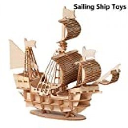 WLKK DIY Velero Juguetes 3D Rompecabezas de Madera Modelo de ensamblaje de Juguete Kits de artesanía de Madera Decoración de Escritorio para niños Niños