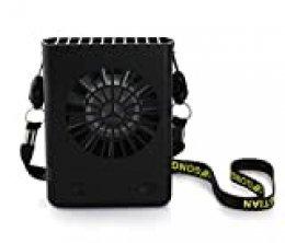 Fanzhou Mini Ventilador USB,Portatil Ventilador de Collar Personal, Ventilador Recargable para Ver el Juego de Pelota, Camping, Viajes, Excursiones (18650 baterías Incluidas), Negro