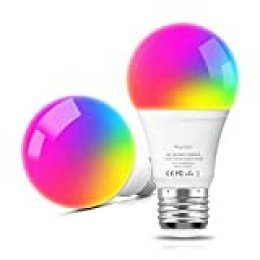 Bombilla LED Inteligente WiFi E27, Aoycocr multicolor, regulable, bombilla RGB, Lámpara WiFi Funciona con Alexa (Echo, Echo Dot) Google Home, 7,5 W, lámpara Smart Home, iOS, Android, 2pack