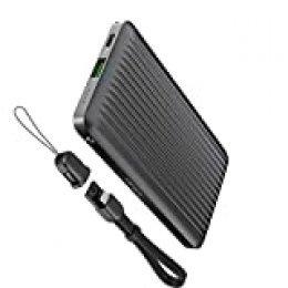 Omars - Batería Externa de 10000 mAh con 2 Salidas de Carga rápida, 9 V, 2 A, USB A y PD USB-C para teléfono móvil, iPhone, Samsung, Glasy