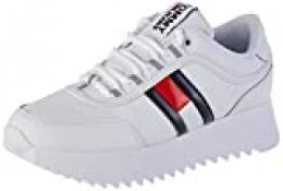 Tommy Hilfiger High Cleated Flag Sneaker, Zapatillas para Mujer, Blanco (White Ybs), 40 EU