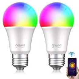Bombilla LED Inteligente WiFi Regulable Lámpara, Smart Bulb E27 8W 800LM Gosund Luces Cálida/Fría de RGB, Compatible con Alexa/Google Home/Siri, Múlticolores, Control Remoto por App, 2 Pack