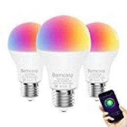 Bombilla LED Inteligente WiFi, 3 Pack 7W E27 Bombilla LED Luces Cálidas/Frías & RGB, Multicolor Lámpara WiFi Funciona con Alexa (Echo, Echo Dot) Google Home IFTTT, 16 Millones de Colores, 600 Lúmenes