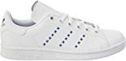 Adidas Stan Smith J, Zapatillas de Gimnasio Unisex Niños, FTWR White/FTWR White/Team Royal Blue, 36 2/3 EU