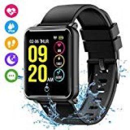 Seneo Reloj Inteligente Hombre,  IP68 Smartwatch con Pulsera Actividad Reloj Deportivo Monitor de Sueño Pulsómetro Podómetro, Reloj Digital con Notificación SMS, Cámara Remoto para Andriod y iOS