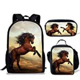 chaqlin - Juego de 3 bolsas de escuela para niños, mochila con bolsa de almuerzo, bolsa de lápices de dinosaurio, lobo, fútbol impreso Multicolor Dinosaurio de animales, 3 unidades por juego. Talla única