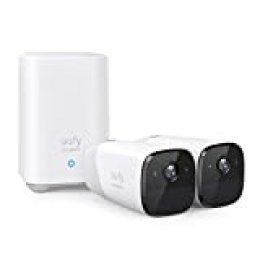 Camara vigilancia WiFi Interior e Exterior, eufyCam2 by Anker, duración de la batería de 365días, HD 1080p, clasificación de impermeabilidadIP67, visión Nocturna, Juego de 2cámaras