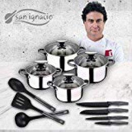 San Ignacio Premium Set de Bateria 8 Piezas + 4 Cuchillos 3 Utensilios de Cocina, Oscurecido