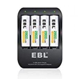 EBL iQuick Cargador de Pila de Ni-MH AA AAA Pila Recargable con 4 AA 2800mAh Pilas Recargables con Dos Modos Cable USB(Micro USB y USB-C)