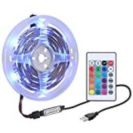 Tiras LED, Tickas Tira de luz 1M DC5V 0.6W 60 LED RGB con mando a distancia Brillo controlado por USB Regulable, Colores variables, 16 colores, aptos para decoración de habitaciones, fiestas, etc.